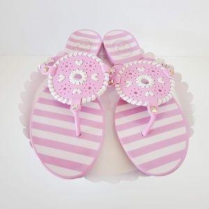 Jack Rogers Georgica Jelly Pink Striped Sandal 9